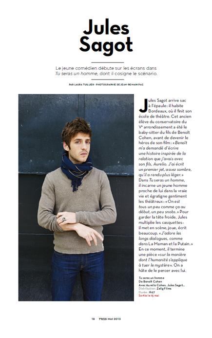 Jules Sagot pour Trois Couleurs (n°111). Photo : Jean-Romain Pac.
