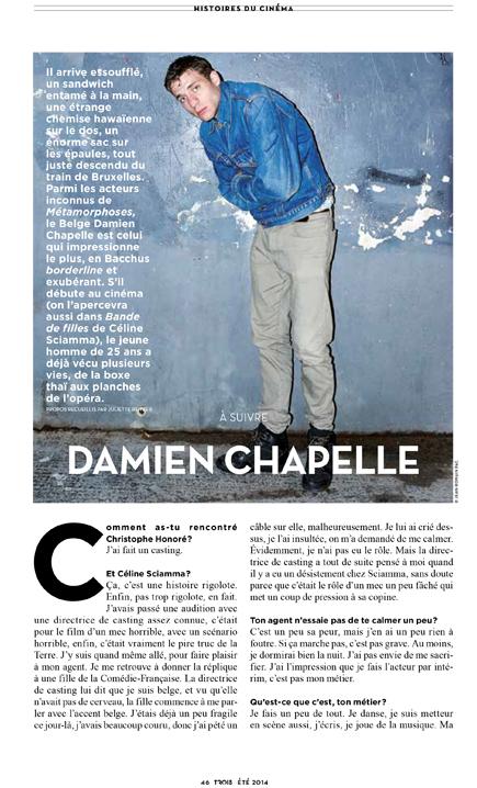 Damien Chapelle pour Trois Couleurs n°123. Photo : Jean-Romain Pac.
